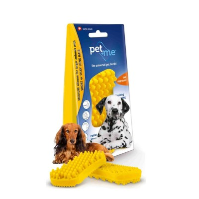 Pet+Me Escova Pêlo Médio Amarela